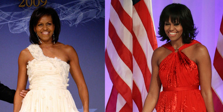Michelle Obama arrives at the Inaugural Ball in 2009 and then 2013. The stylish first lady is a style setter.Photo / AP
