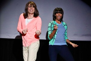 Jimmy Fallon dressed as a mum dancing with first lady Michelle Obama.Photo / AP