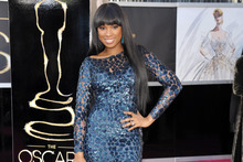 The less handy view of Jennifer Hudson on the red carpet.  Photo / Supplied