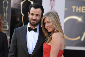 Justin Theroux, left, and Jennifer Aniston will tie the knot on March 8, sources say.Photo / AP