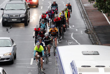 Cyclists traveling north towards Auckland on Tamaki Drive. Photo / Doug Sherring 
