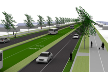 An artist's impression of the Ameti busway. Photo / Sarah Ivey