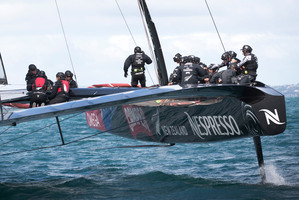 Emirates Team New Zealand's AC72 America's Cup catamaran.  Photo / Natalie Slade