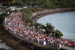 The annual 8.4km Round the Bays Run attracts up to 70,000 participants, ranging from experienced athletes to people out for a good time.  Photo / Natalie Slade