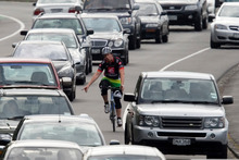 A cyclist shares the road with drivers on Auckland's Tamaki Drive. Photo / Dean Purcell
