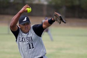 New Zealand Black Sox softball pitcher Jarrad Martin. Photo / Brett Phibbs