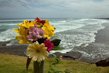 A flower tribute sits on a fence post as a memorial for Muriwai local Adam Strange. Photo / Brett Phibbs