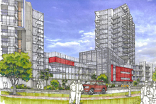 Community opposition has halted the Milford housing towers but developer NZ Retail Property Group has vowed to challenge the decision. Photo / Supplied 
