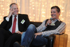 Guy Stewart of Skope (left) with Kaiparasoft's Chris Harris at a TIN launch. Photo / Brett Lees