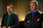 Jonny Lee Miller (left) as Sherlock Holmes and Aidan Quinn as Captain Toby Gregson. Photo / AP
