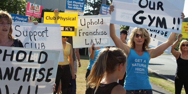 A group of loyal Club Physical gym members turned out to protest at Jolt Fitness in Westgate on Sunday. Photo / Supplied