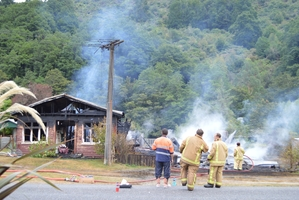 The two Blacks Point houses were destroyed by fire. Photo / Greymouth Star