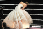 Jennifer Lawrence falls down at the Oscars. Photo/AP