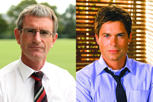 Mount Albert Grammar School head Dale Burden (left) and TV character Sam Seaborn of The West Wing, played by Rob Lowe.  Photos / Janna Dixon, Supplied
