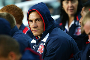 Sonny Bill Williams watches the NRL trial match between the Sydney Roosters and the Wests Tigers. Photo / Getty Images