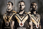 Ben Matulino, Simon Mannering and Alehana Mara model the strip the Warriors will wear in Wellington.