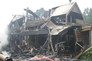 The aftermath following the massive fire on Friday night. Photo / Lesley Staniland
