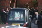 The coffin of Great Train Robber Ronnie Biggs arrives at Golders Green Crematorium. Photo / Getty Images