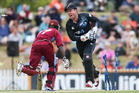 Luke Ronchi of New Zealand runs out Chadwick Walton of the West Indies during game four of the One Day International Series between New Zealand and the West Indies. Photo / Getty Images.