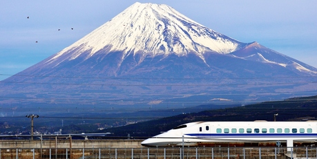 The Shinkansen (bullet train) goes between Tokyo and Osaka.