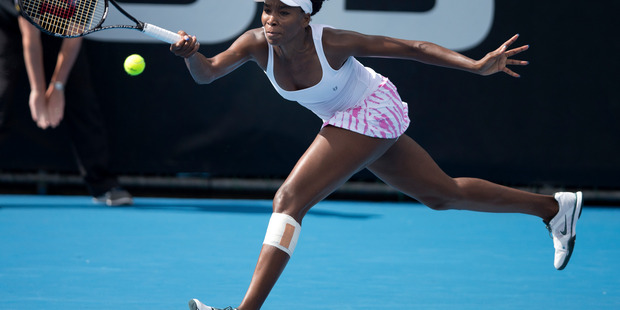 Venus Williams of the USA in action in her singles match against Yvonne Meusburger. Photo / Brett Phibbs