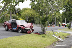 Police attend the scene of a fatal crash at the junction of Blease St and Astley Avenue in New Lynn. Photo / Herald on Sunday / Michael Craig