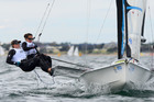 Alex Maloney and Molly Meech in action during the 49erFX class, Oceanic Leg of the ISAF Sailing World Cup 2012. Photo / AAP