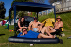 From left, Mackenzie Boddington 19, Patrick Davy, 19, Luke Leesburg, 18, Andrew Gaskell, 19, spend New Year's Eve at Tauranga Silver Birch Holiday Park. Photo / Christine Cornege