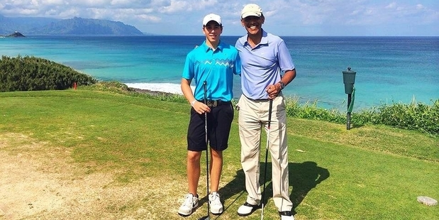 Max Key and US president Barack Obama after having a round of golf in Hawaii. Photo / Facebook/Max Key