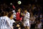 Bosnia's Asmir Begovic clears the ball. Photo / AP