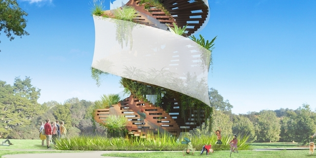 Architect Andrew Patterson's concept of a 19m tower that will sprout epiphytes of the sort that grow in the forest canopy.