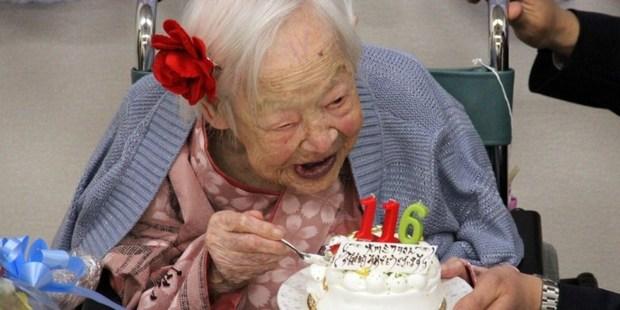 The world's oldest woman Misao Okawa celebrating her 116th birthday at the nursing home in Osaka. Photo / Tomohito Okada