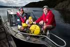 GNS scientist Fabio Caratori Tontini (left) with Maurice Tivey of the  US-based Woods Hole Oceanographic Institution. Photo / Alan Gibson