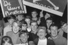 Auckland demonstrators show their support for Radio Hauraki's pirates in 1966. Photo / NZ Herald