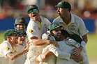 Australian players celebrate after winning the third test in Cape Town. Photo / Getty Images