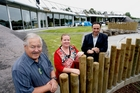 Rob Cooper (left), Ngati Hine Early Childhood Centre chief executive, Tanya Milne, manager, and Pita Tipene outside the now award-winning building, before its official opening two years ago. Photo / John Stone