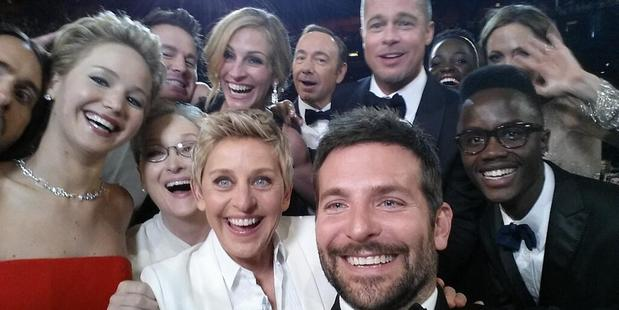 Ellen's selfie at the Oscars has become a viral hit. Photo/Twitter