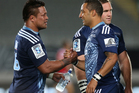 Keven Mealamu (L) and Benji Marshall of the Blues shake hands after the round three Super Rugby match between the Auckland Blues and the Christchurch Crusaders. Photo / Getty Images.