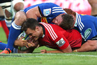 Israel Dagg of the Crusaders is tackled short of the try line during the round four Super Rugby match between the Crusaders and the Stormers. Photo / Getty Images.
