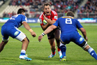 Israel Dagg of the Crusaders is tackled by Damian de Allende (L) and Daniel Vermeulen of the Stormers. Photo / Getty Images.