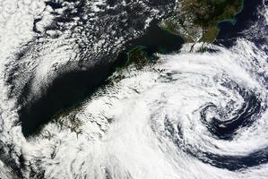 The storm above New Zealand. Photo / NASA