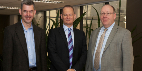 From left, Jonathan Usher, MD of Datacom Solutions, Roy Simpson, CEO of Origen Technology, and Datacom Group CEO Jonathan Ladd.