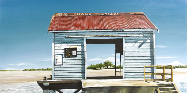 Big Omaha Wharf, from the book Lazy Days, painted by Graham Young. Photo / New Holland