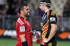Corey Flynn (L) of the Crusaders talks to Matt Symonds (R) of the Chiefs after the round two Super Rugby match between the Crusaders and the Chiefs. Photo / Getty Images.