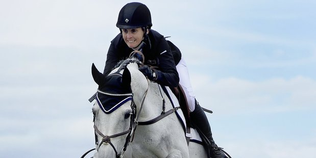 Sam McIntosh and Argento WHS clear a fence on their way to winning the Bayleys Grand Prix yesterday. Photo/George Novak