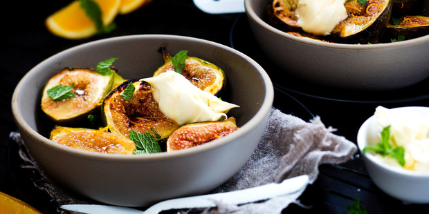 Grilled figs with honey and mascarpone. Photo / Babiche Martens.