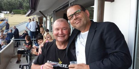 Paul Henry with Graham Lowe. Mayor Len Brown is snapped in the background (second left) without a heckling protester or duck caller in sight.