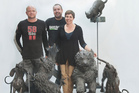 Sculptor Brigitte Wuest, her husband and sculpture caster Marco Wuest, left, and foundryman Jonathan Campbell.