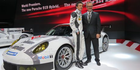 Actor and racing driver Patrick Dempsey with the new Porsche 911 RSR at Geneva