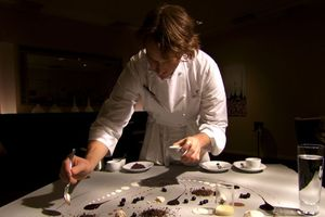 "Chicago chef Grant Achatz gets to grips with one of his ""absurd"" dishes."